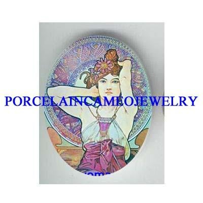 ALPHONSE MUCHA FLOWER LADY * UNSET CAMEO PORCELAIN CAB