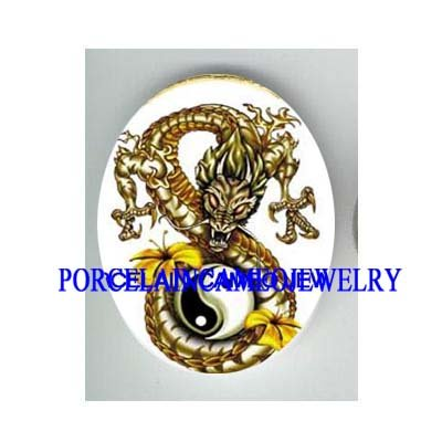 GOLD DRAGON YIN YANG HIBISCUS UNSET CAMEO PORCELAIN CAB