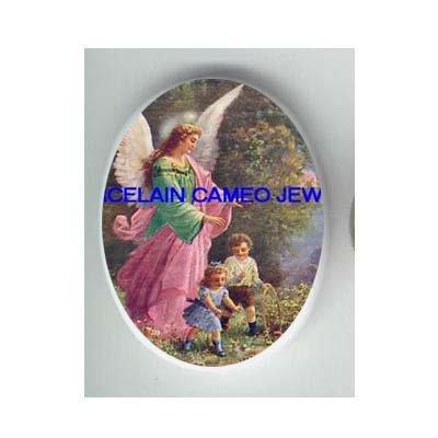 GUARDIAN ANGEL CHILDREN * UNSET CAMEO PORCELAIN CAB