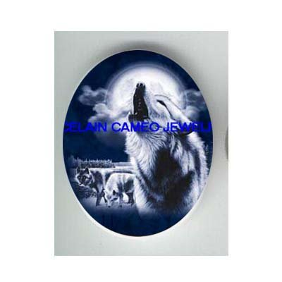 3 BLUE WOLF HOWLING MOON UNSET CAMEO PORCELAIN CAB 3040