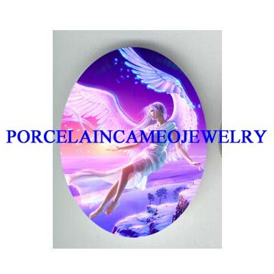 RAINBOW ANGEL MOUNTAIN UNSET CAMEO PORCELAIN CAB 30X40