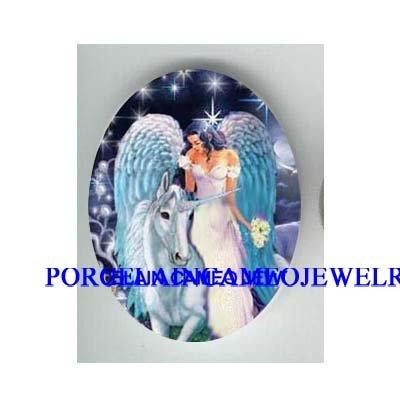 WHITE UNICORN HORSE WITH ANGEL CAMEO PORCELAIN CAB