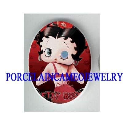 BIG EYES BETTY BOOP IN RED  * UNSET CAMEO PORCELAIN CAB