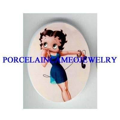 BETTY BOOP CALL ME UNSET CAMEO PORCELAIN CAB 30X40MM