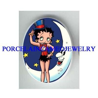 MAGICIAN BETTY BOOP WITH MOON * UNSET CAMEO PORCELAIN CAB