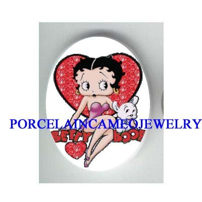 BETTY BOOP LOVE HEART PUPPY DOG * UNSET CAMEO PORCELAIN CAB