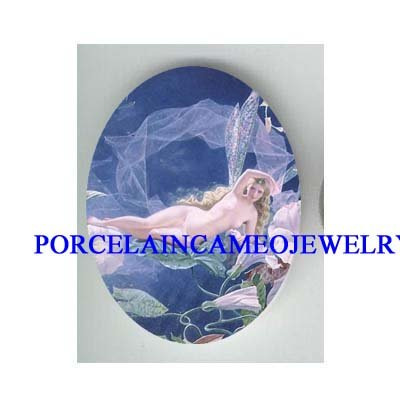 VICTORIAN ROCOCO MORNING GLORY FAIRY * UNSET CAMEO PORCELAIN CAB