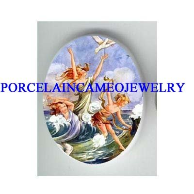3 VICTORIAN MERMAID FAIRY SEAGULL  WAVE * UNSET CAMEO PORCELAIN CAB