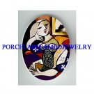 PICASSO LADY READING A BOOKS * UNSET CAMEO PORCELAIN CAB
