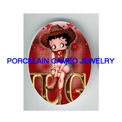 BETTY BOOP COWGIRL UNSET CAMEO PORCELAIN CAB 30X40MM