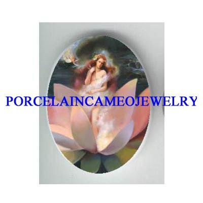 ROCOCO LOTUS WATER LILY FAIRY * UNSET CAMEO PORCELAIN CAB