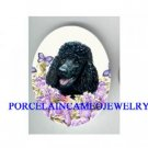 BLACK POODLE DOG PURPLE ROSE BUTTERFLY * UNSET CAMEO PORCELAIN CAB