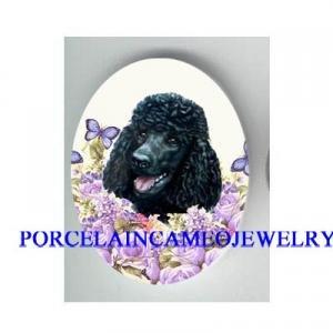BLACK POODLE DOG PURPLE ROSE BUTTERFLY * UNSET CAMEO PORCELAIN CAB