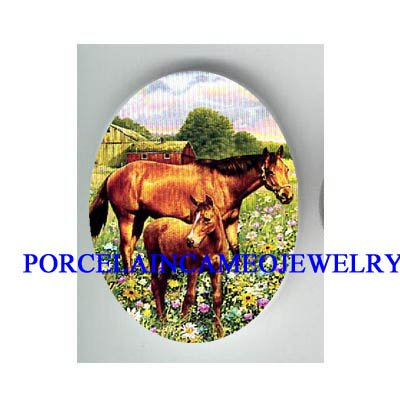 MARE AND COLT HORSE SPRING FARM* UNSET CAMEO PORCELAIN CAB