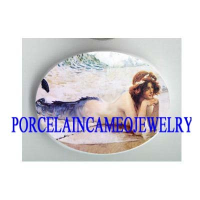 VICTORIAN MERMAID RESTING* UNSET CAMEO PORCELAIN CAB