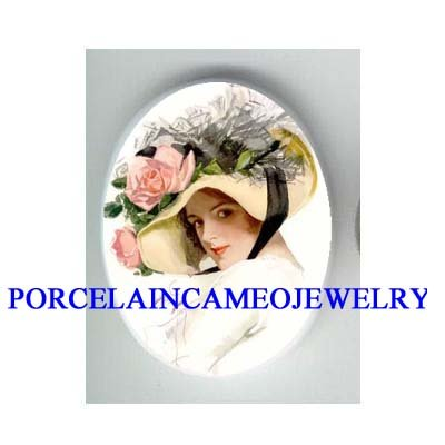 VICTORIAN PINK ROSE HAT LADY* UNSET CAMEO PORCELAIN CAB