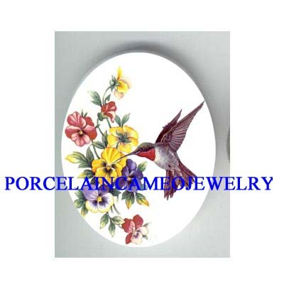 HUMMINGBIRD WITH COLORFUL PANSY* UNSET CAMEO PORCELAIN CAB