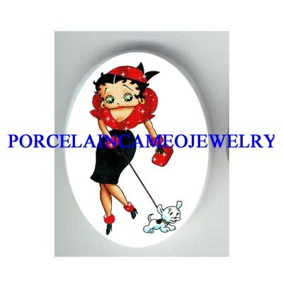 BETTY BOOP IN RED WALKING HER DOG* UNSET CAMEO PORCELAIN CAB