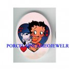 PUPPY DOG  KISSING BETTY BOOP LOVE HEART* UNSET CAMEO PORCELAIN CAB