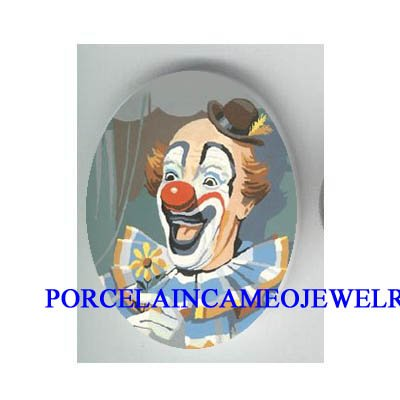 SMILING CLOWN WITH DAISY UNSET CAMEO PORCELAIN CAB