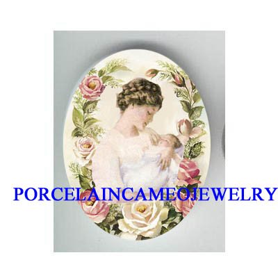 MOTHER HOLDING BABY PINK ROSE* UNSET CAMEO PORCELAIN CAB