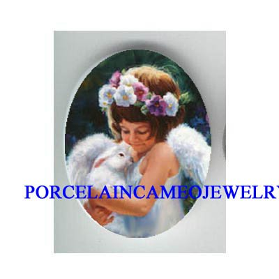 PANSY ANGEL HOLDING RABBIT BUNNY* UNSET CAMEO PORCELAIN CAB