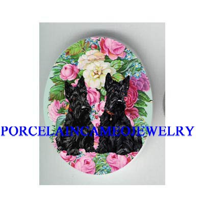2 SCOTTISH TERRIER DOG WITH ROSE FORGET ME NOT* UNSET CAMEO PORCELAIN CAB