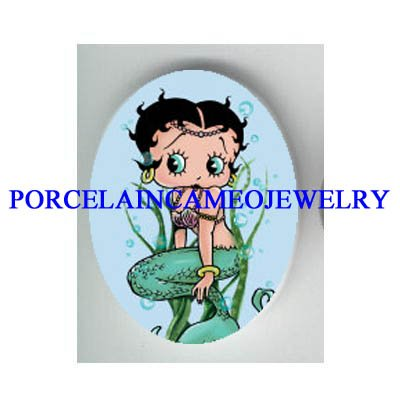 BETTY BOOP MERMAID* UNSET CAMEO PORCELAIN CAB