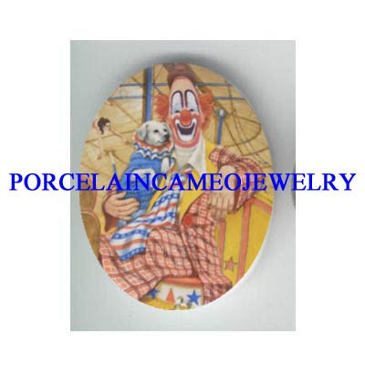 HAPPY CLOWN WITH CIRCUS DOG PORCELAIN CAMEO CAB