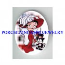 RED HAT BETTY BOOP WITH CAT UNSET CAMEO PORCELAIN CAB