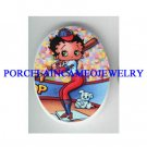 BETTY BOOP PLAY BASEBALL WITH DOG  * UNSET CAMEO PORCELAIN CAB