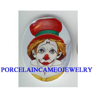 RED HAT CIRCUS CLOWN * UNSET CAMEO PORCELAIN CAB
