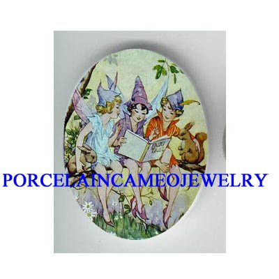 VICTORIAN FAIRY WITH SQUIRREL AND RABBIT * UNSET CAMEO PORCELAIN CAB