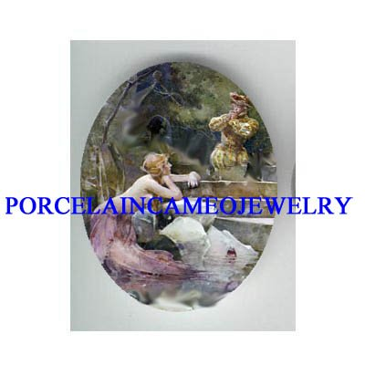 VICTORIAN MERMAID WITH PRINCE * UNSET CAMEO PORCELAIN CAB