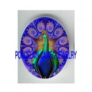 ART DECO NOUVEAU PURPLE PEACOCK PORCELAIN CAMEO CAB