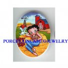 COUNTRY BETTY BOOP WITH PUPPY DOG   * UNSET CAMEO PORCELAIN CAB
