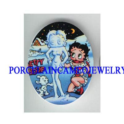 SNOWMAN BETTY BOOP WITH PUPPY DOG   * UNSET CAMEO PORCELAIN CAB
