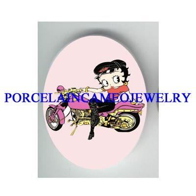 BETTY BOOP PURPLE MOTORCYCLE BIKER * UNSET CAMEO PORCELAIN CAB