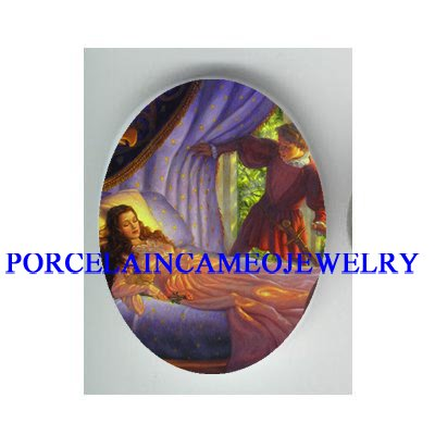 VICTORIAN SLEEPING BEAUTY PRINCE CAMEO PORCELAIN CAB