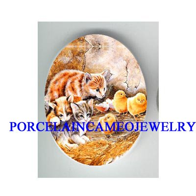 3 KITTY CAT WITH CHICKEN CHICK * UNSET CAMEO PORCELAIN CAB