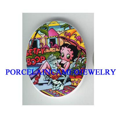 BETTY BOOP SUMMER VACATION WITH DOG * UNSET CAMEO PORCELAIN CAB
