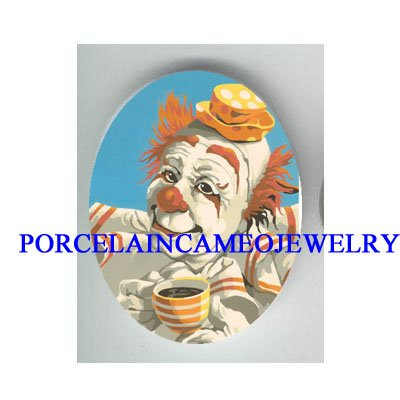 CIRCUS CLOWN DRINK COFFEE UNSET CAMEO PORCELAIN CAB