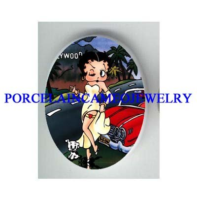 BETTY BOOP DOG HOLLYWOOD SPORTS CAR* UNSET CAMEO PORCELAIN CAB