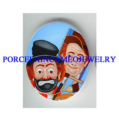 2 FACES CIRCUS CLOWN  * UNSET CAMEO PORCELAIN CAB