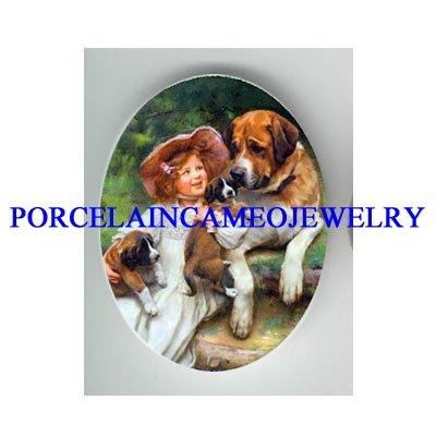 SAINT BERNARD DOG FAMILY WITH VICTORIAN GIRL* UNSET CAMEO PORCELAIN CAB