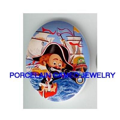 CIRCUS CLOWN PIRATE SHIP UNSET CAMEO PORCELAIN CAB