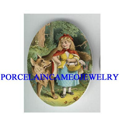 LITTLE RED RIDING HOOD WITH WOLF * UNSET CAMEO PORCELAIN CAB