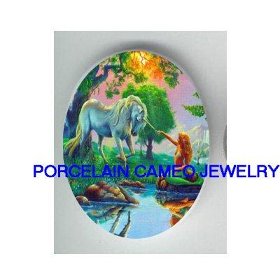 UNICORN HORSE WITH MERMAID UNSET CAMEO PORCELAIN CAB