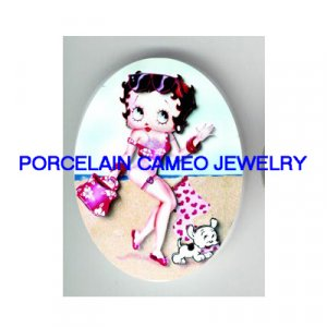 PINK BETTY BOOP SUMMER BEACH WITH DOG * UNSET CAMEO PORCELAIN CAB