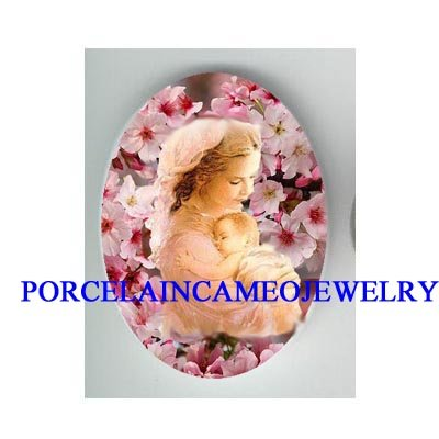 MOTHER HOLDING BABY CHERRY BLOSSOMS CAMEO PORCELAIN CAB